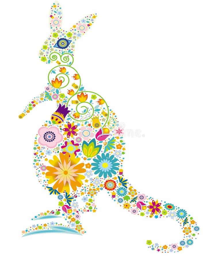 blom- känguru royaltyfri illustrationer