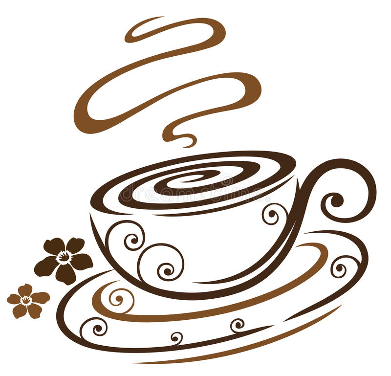 Blom- kaffekopp stock illustrationer