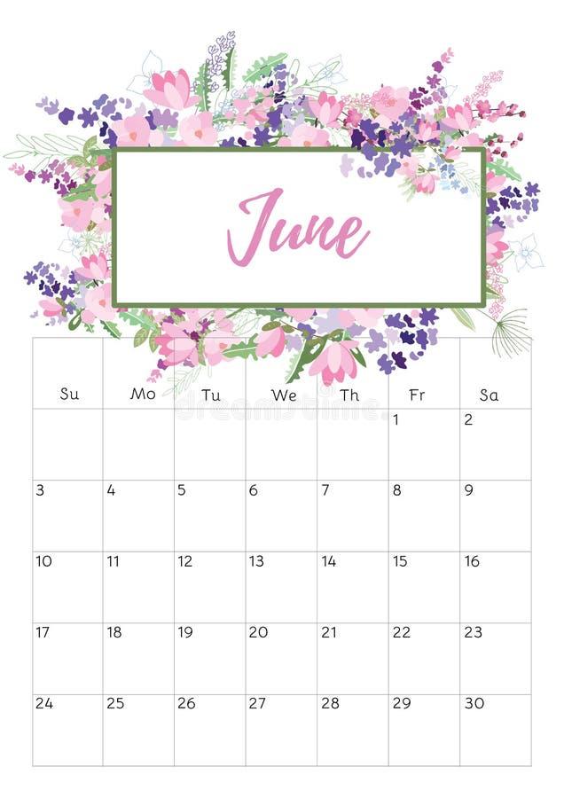 Blom- kalender 2018 för tappning vektor illustrationer