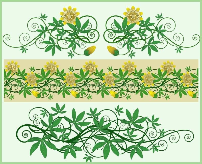 blom- kantelement vektor illustrationer