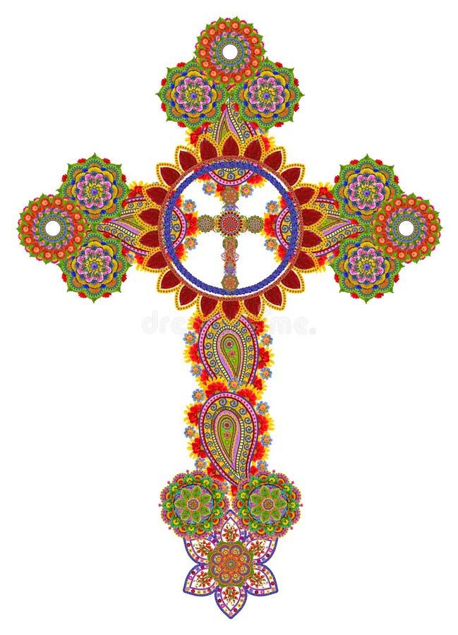 Blom- keltiskt kors royaltyfri illustrationer