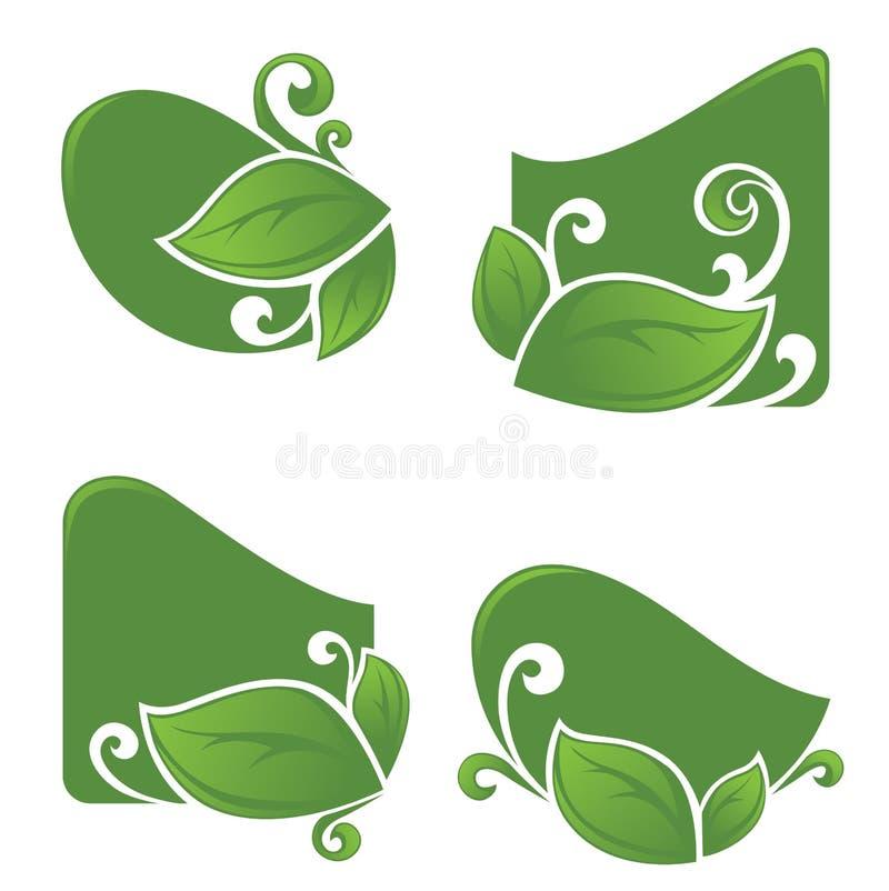 Blom- klistermärkear royaltyfri illustrationer