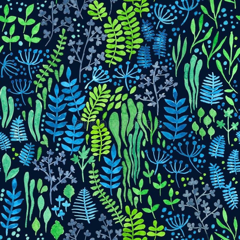 Blom- klotter för vattenfärg royaltyfri illustrationer