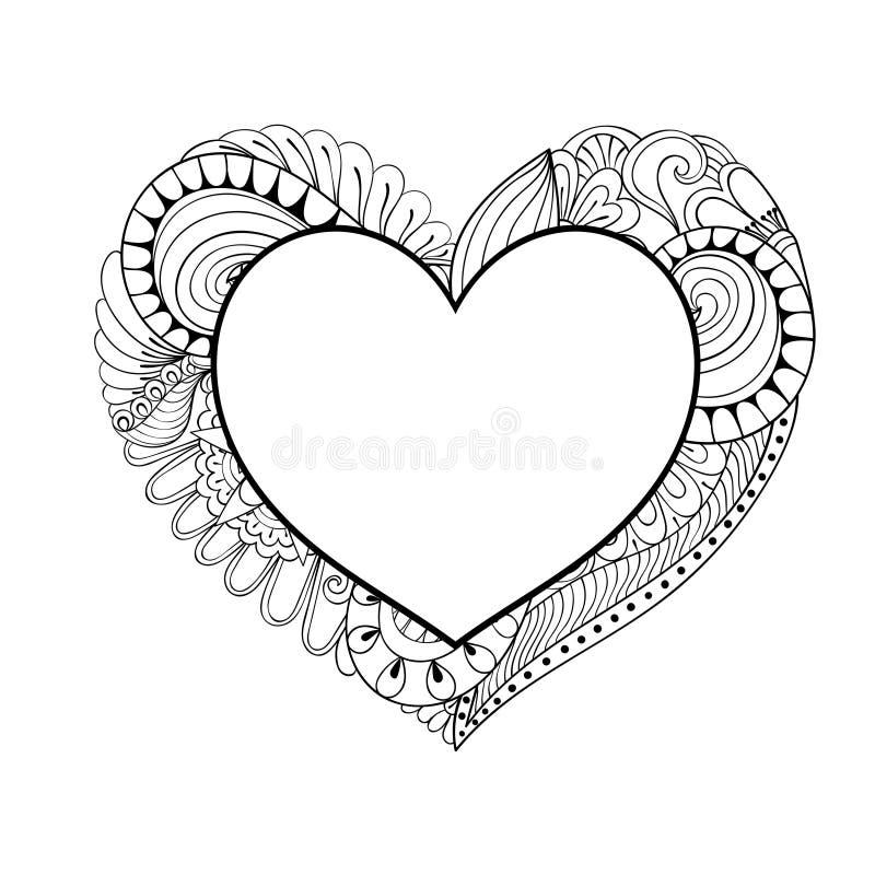 Blom- klotterhjärtaram i zentanglestil för vuxen färgläggning royaltyfri illustrationer