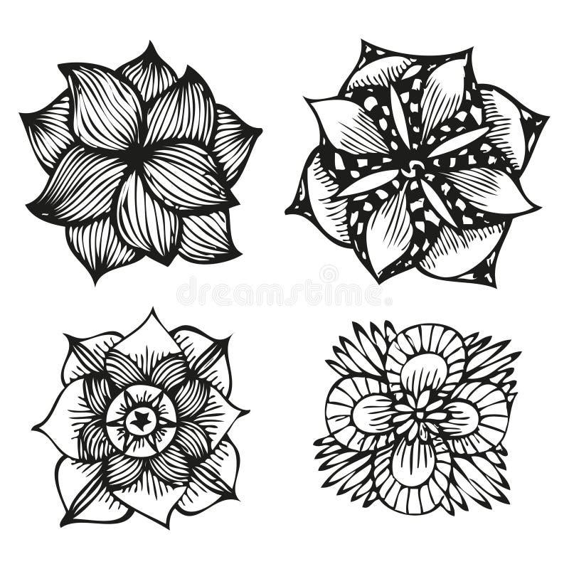 Blom- klottra blommauppsättning i tatueringstil vektor illustrationer