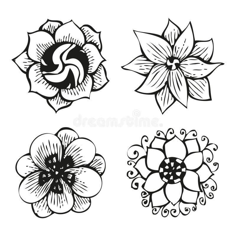 Blom- klottra blommauppsättning i tatueringstil stock illustrationer