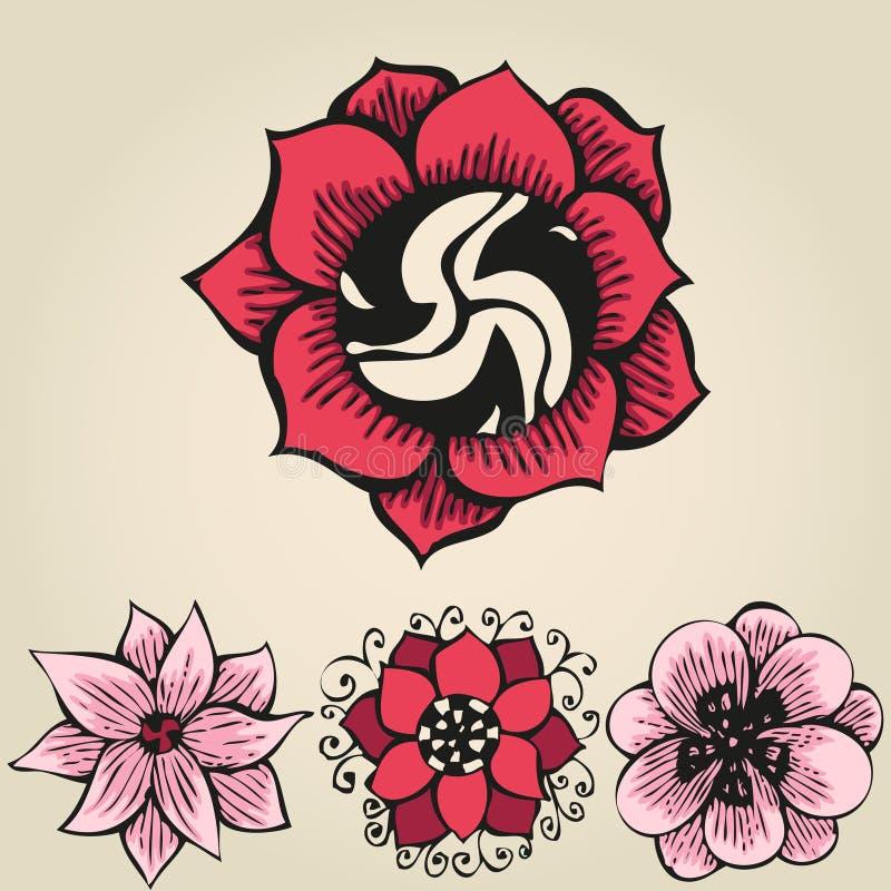 Blom- klottra blommauppsättning i tatueringstil royaltyfri illustrationer