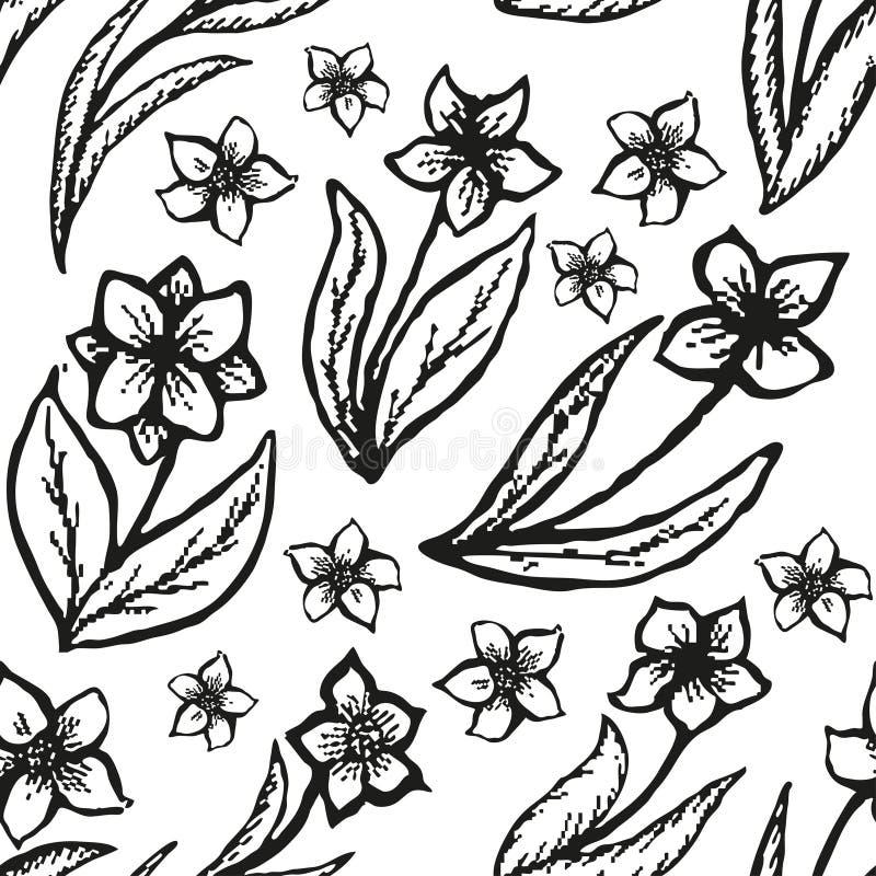 Blom- klottra sömlös bakgrund i tatuering stock illustrationer