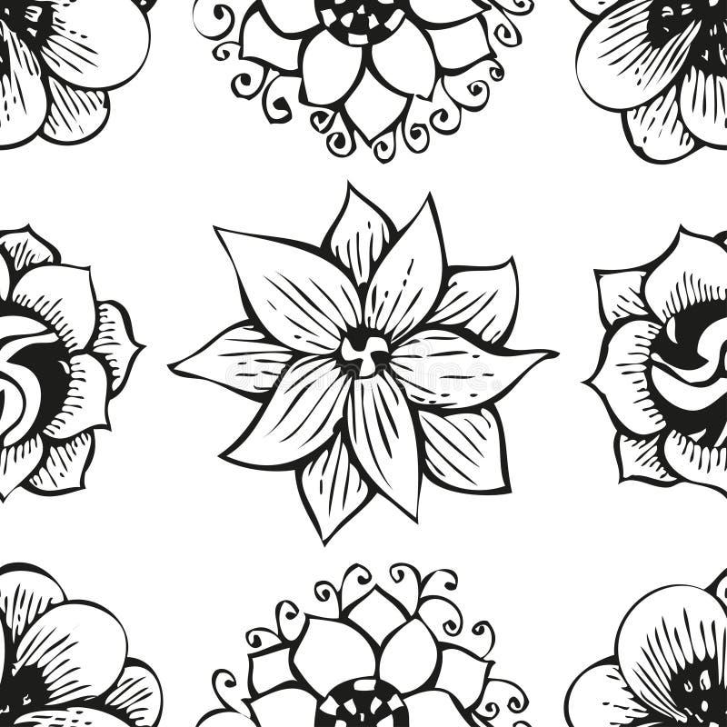 Blom- klottra sömlös modell för blomma i tatuering vektor illustrationer