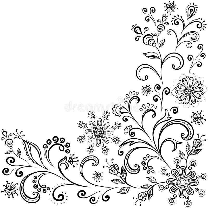 Blom- konturbakgrund stock illustrationer