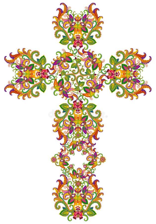 Blom- kors för fisknätstil av Jesus stock illustrationer