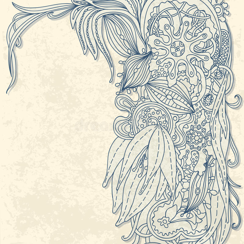 Blom- kort royaltyfri illustrationer