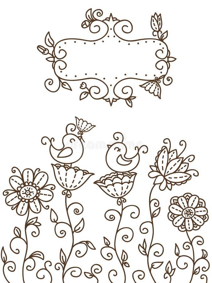 Blom- kort stock illustrationer