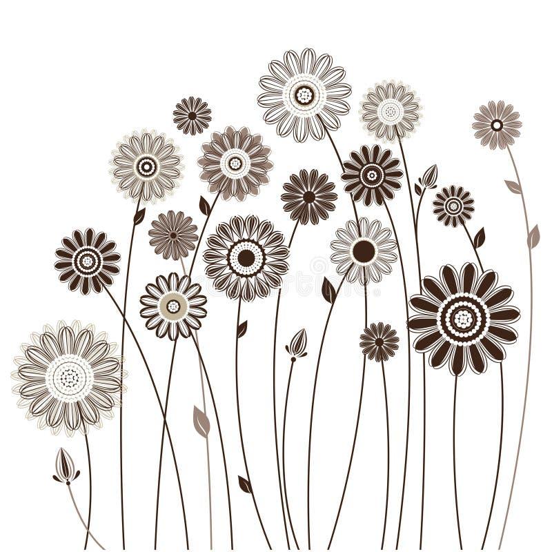 Blom- kort, bukett av stiliserade blommor royaltyfri illustrationer
