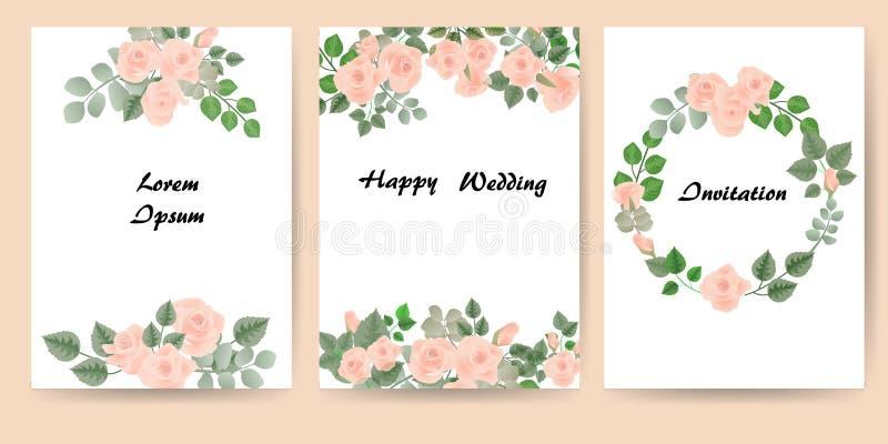 Blom- kort för inbjudan Upps?ttning - vektormateriel royaltyfri illustrationer