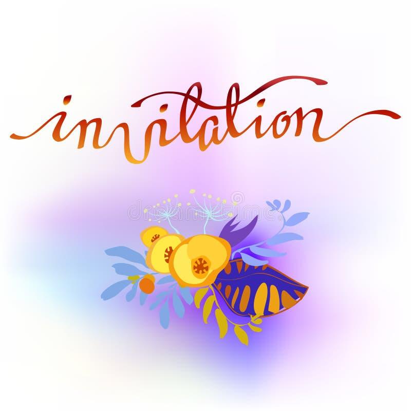 Blom- kort för kalligrafi vektor illustrationer