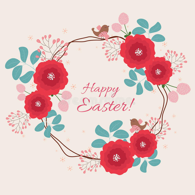 Blom- kort för påsk stock illustrationer