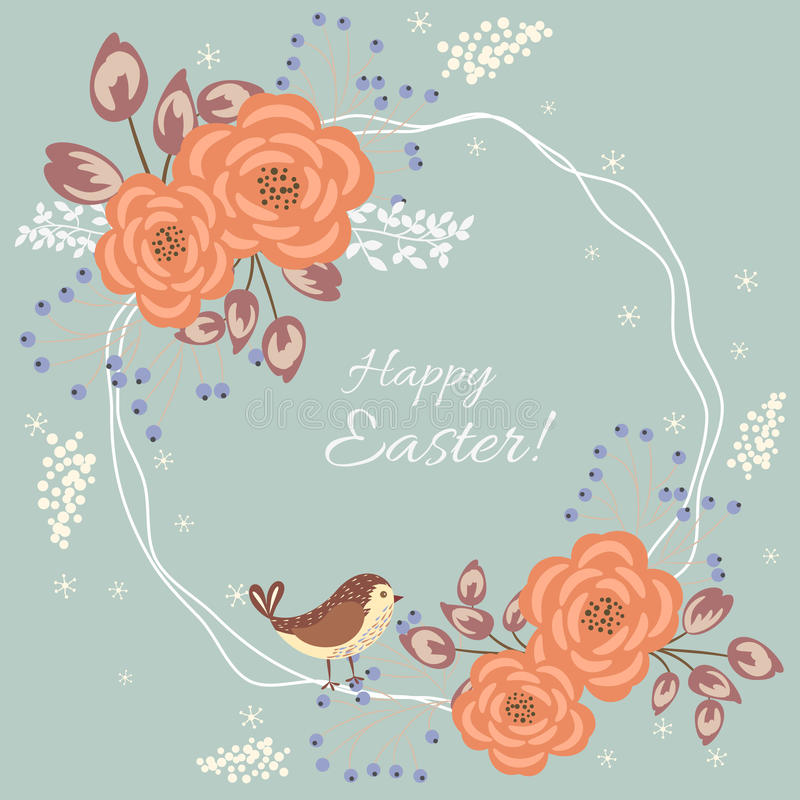Blom- kort för påsk vektor illustrationer