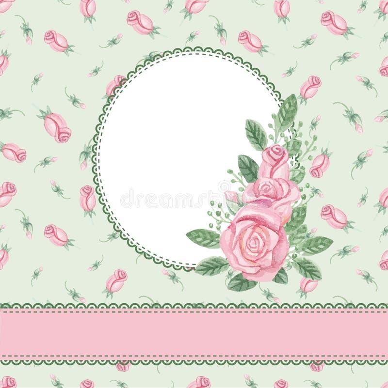 Blom- kort för tappning, inbjudan rose vattenfärg stock illustrationer