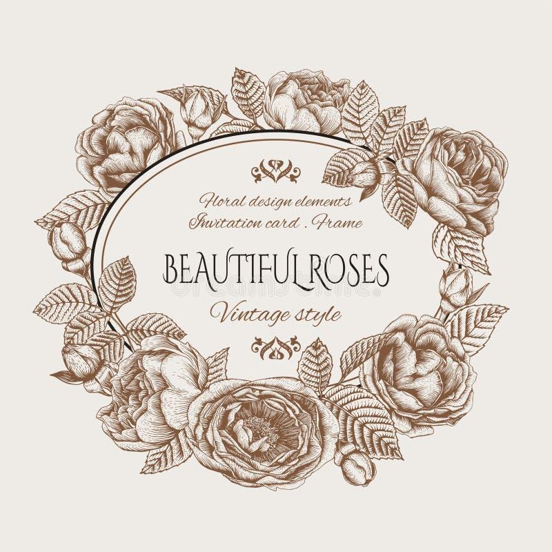 Blom- kort för tappning med en ram av rosor vektor illustrationer