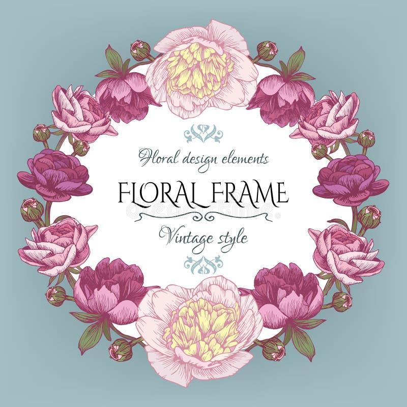 Blom- kort för tappning med en ram av vita och purpurfärgade pioner och den persiska smörblomman royaltyfri illustrationer