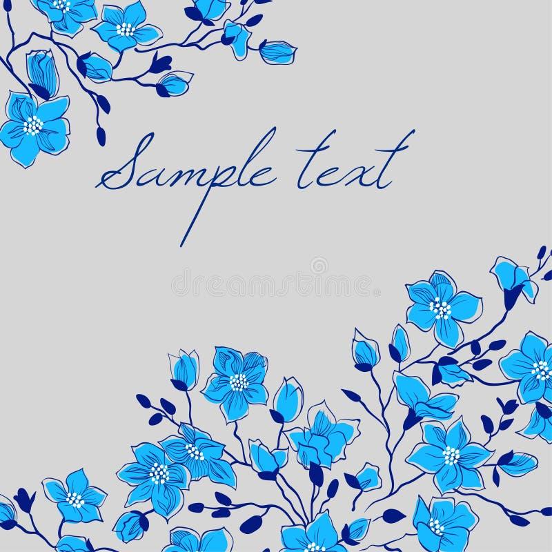 Blom- kort för vektor med blåa magnoliablommor royaltyfri illustrationer