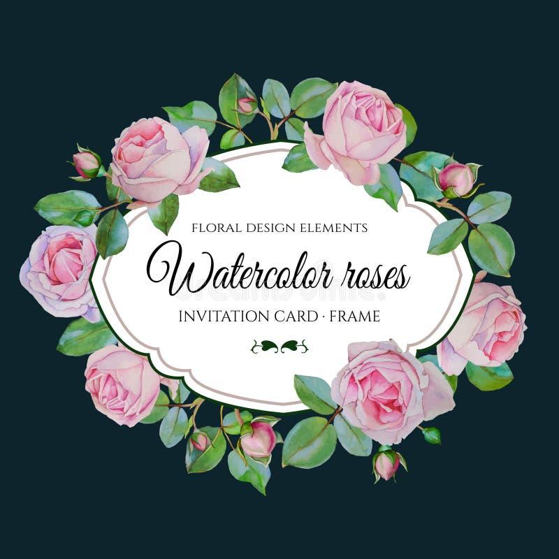 Blom- kort för vektor med rosa rosor för vattenfärg i tappningstil vektor illustrationer