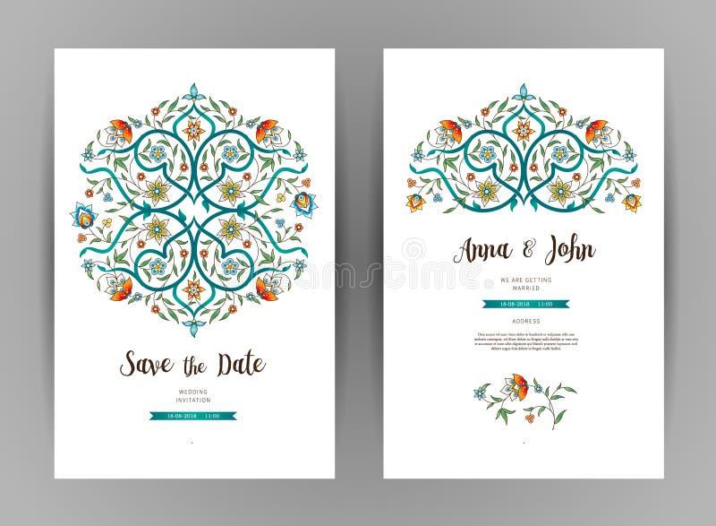 Blom- kort för vektortappning i östlig stil royaltyfri illustrationer