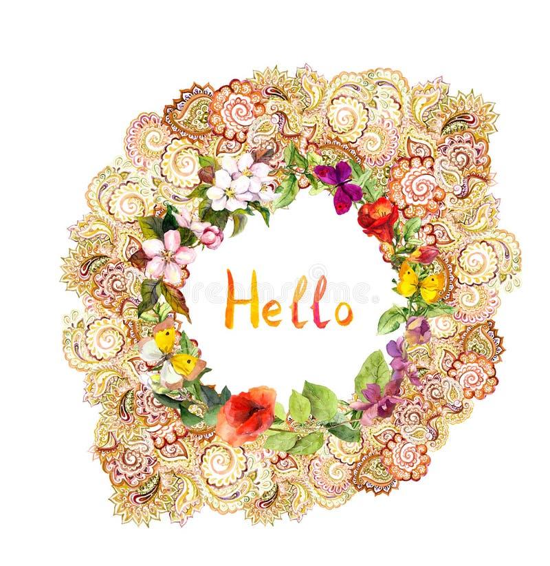 Blom- kort - Hello, utsmyckad krans Ängblommor, fjärilar vattenfärg stock illustrationer