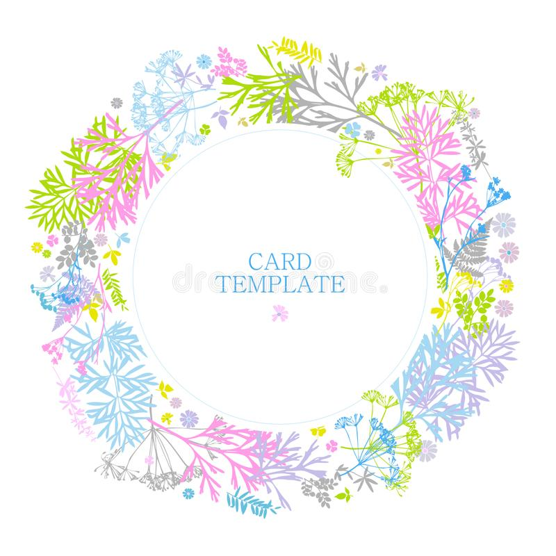 Blom- kort med sidor, blommor, gräs, ormbunke delikata färger på en vit bakgrund Gr?nskarundaram Landsstil För bir stock illustrationer