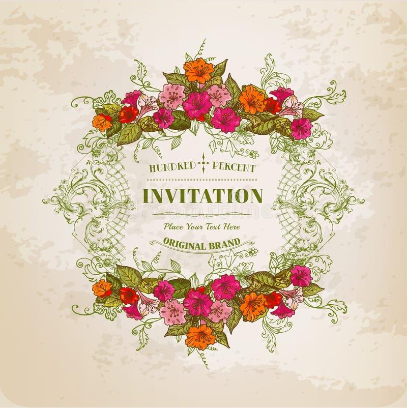 Blom- kort med tappningramen stock illustrationer