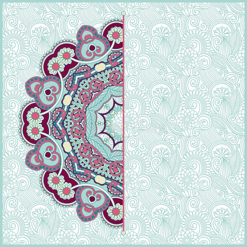 Blom- kortmeddelande för utsmyckad cirkel royaltyfri illustrationer