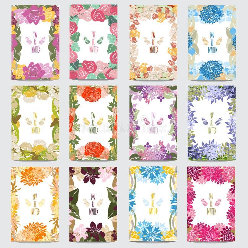 Blom- kortuppsättning royaltyfri illustrationer