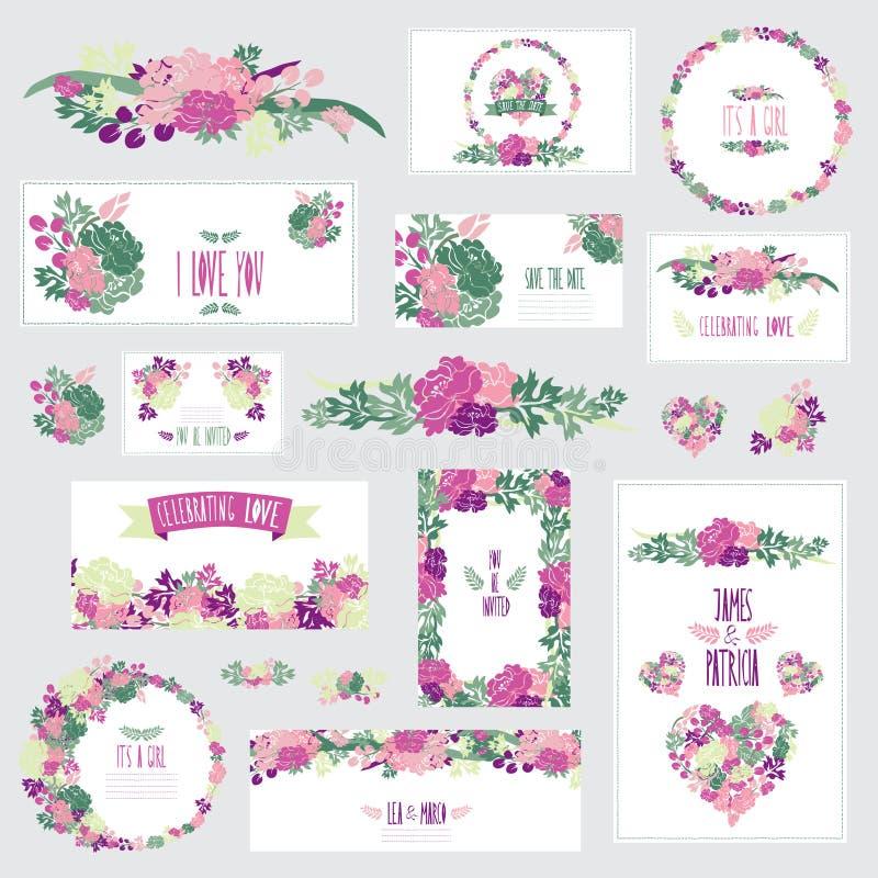 Blom- kortuppsättning vektor illustrationer