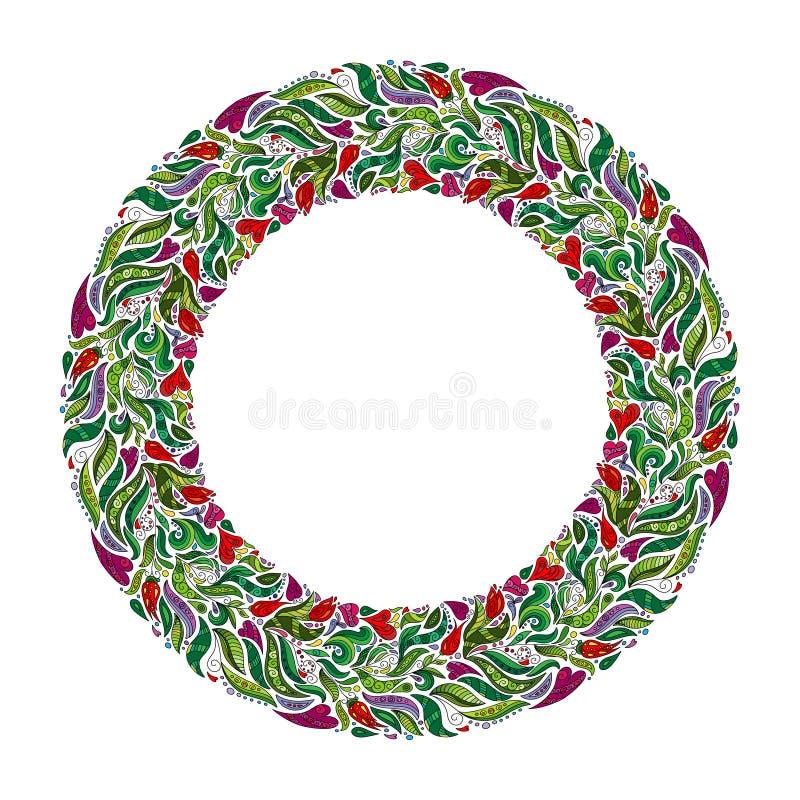 Blom- krans, dragen ram för vår hand Inspirerad girland för natur med röda blommor stock illustrationer