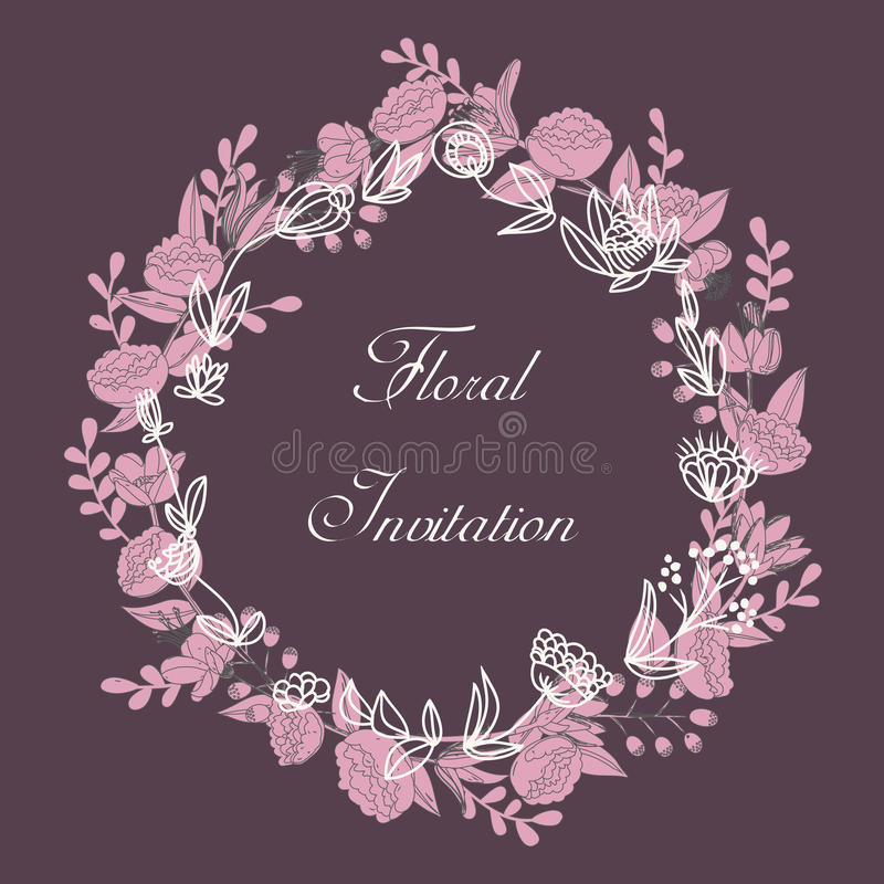 Blom- krans för design stock illustrationer