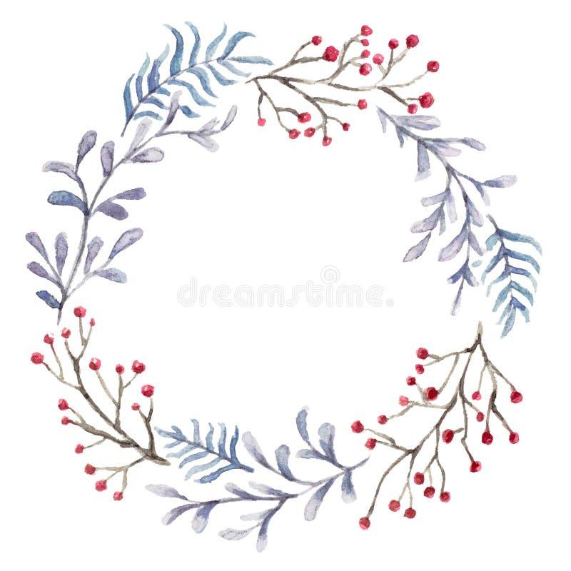 Blom- krans för jul stock illustrationer