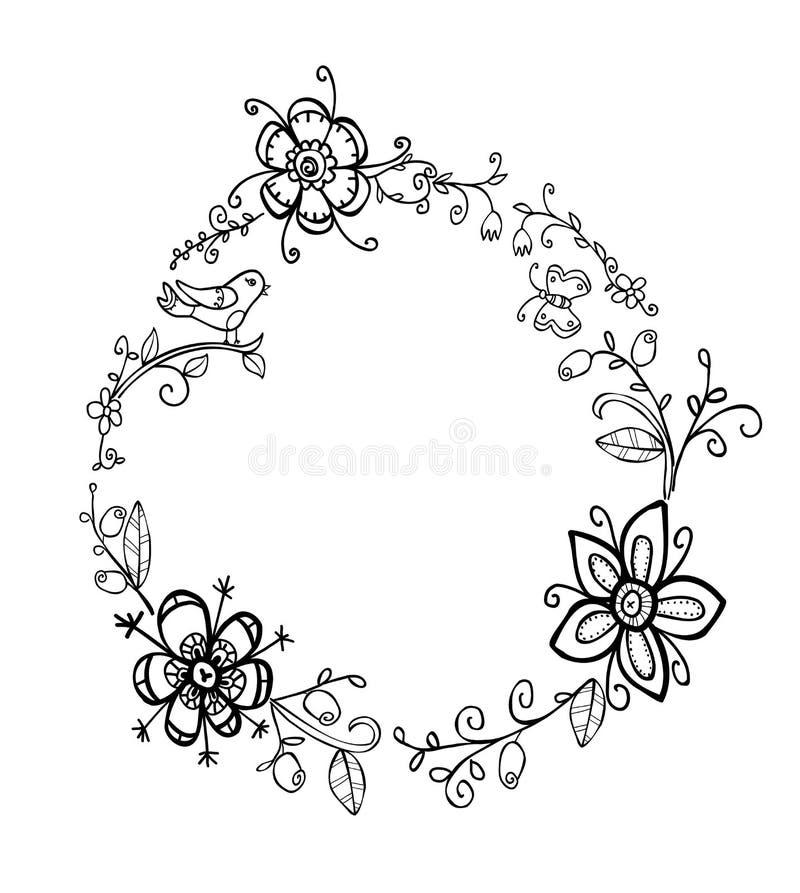 Blom- krans för klotter stock illustrationer