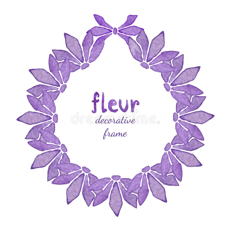 Blom- krans för vattenfärg med den lila blomman Inbjudan bakgrund för hälsningkort royaltyfri illustrationer