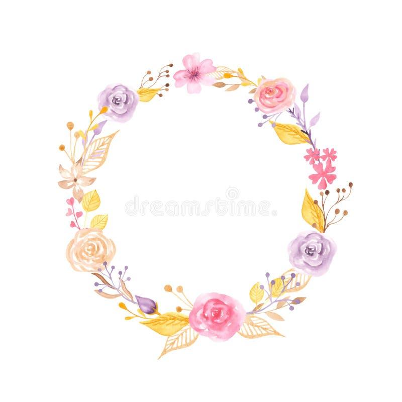 Blom- krans för vattenfärg med guld- och rosa royaltyfri illustrationer
