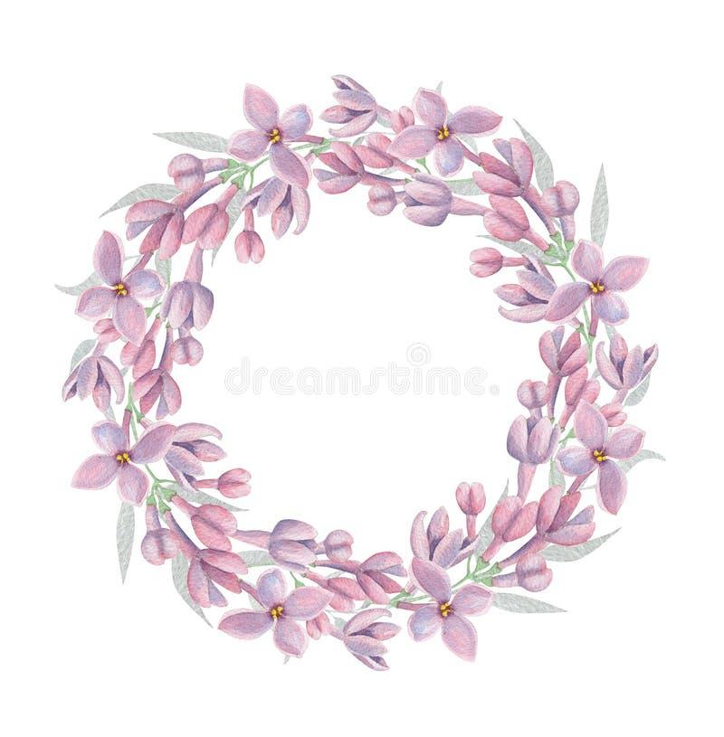 Blom- krans för vattenfärg med lila blommor royaltyfri illustrationer