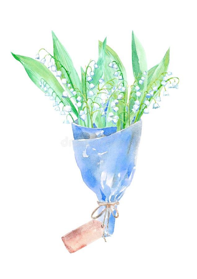 Blom- krans Girland av den blomma- och för kraft papper packen för en liljekonvalj vektor illustrationer