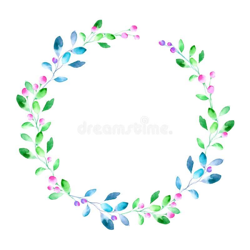 Blom- krans Girland med bäret och örten stock illustrationer
