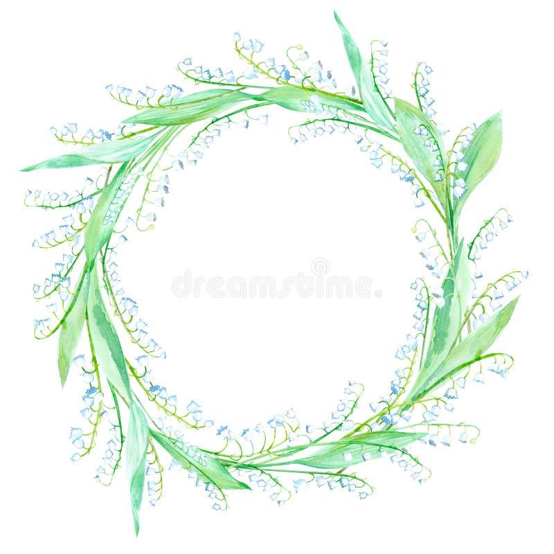 Blom- krans Girland med liljekonvaljen stock illustrationer