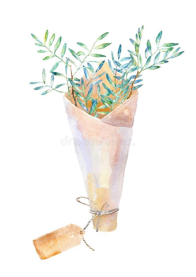 Blom- krans Girland med pistaschfilialer och packen för kraft papper vektor illustrationer