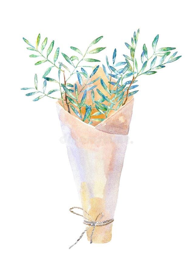 Blom- krans Girland med pistaschfilialer och packen f?r kraft papper royaltyfri illustrationer
