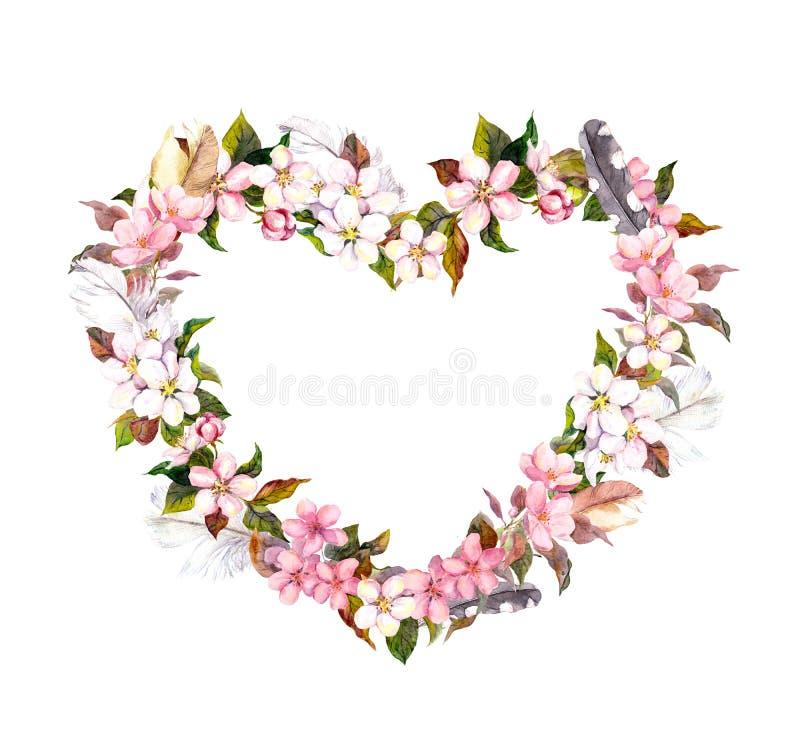 Blom- krans - hjärtaform Rosa färgblommor och fjädrar Vattenfärg för valentindag som gifta sig i tappningbohostil royaltyfri fotografi