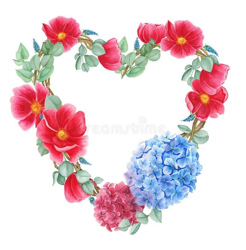 Blom- krans med röda anemoner, röd och blå vanlig hortensia och gröna sidor, vattenfärgmålning stock illustrationer