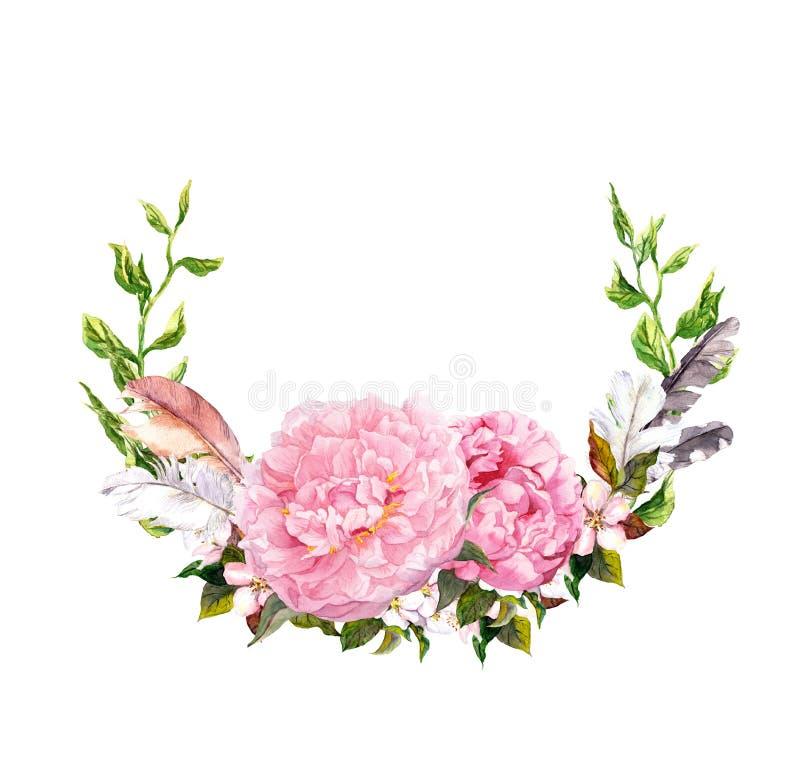 Blom- krans med rosa pionblommor, fjädrar Romantiskt kort i retro bohostil vattenfärg royaltyfri bild