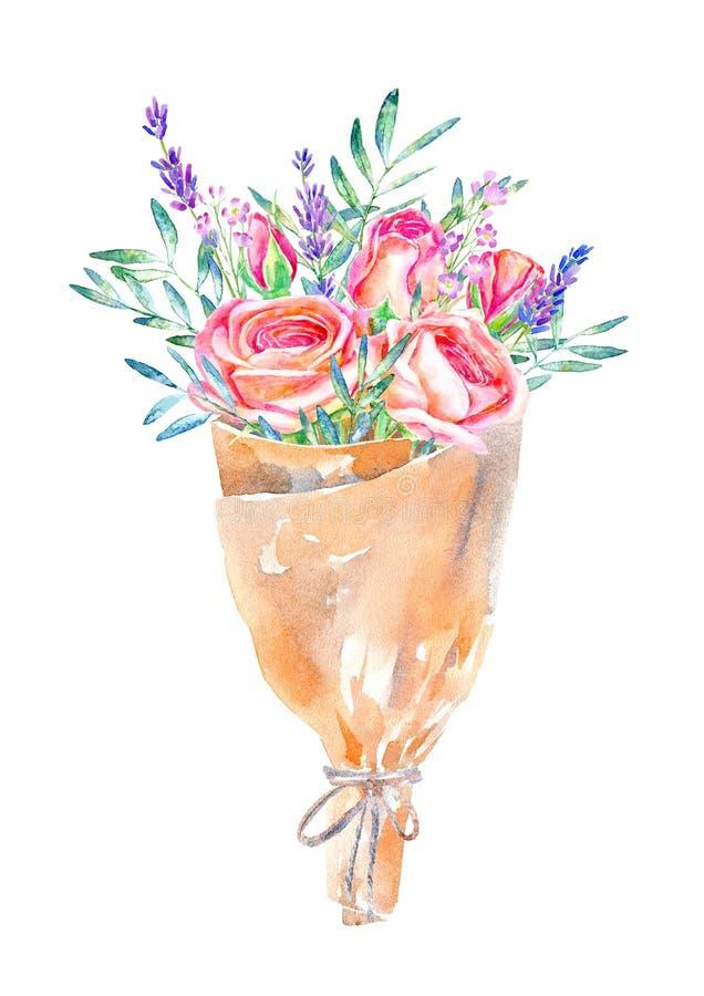 Blom- krans Pistaschfilial-, ros- och kraft papperspacke royaltyfri illustrationer